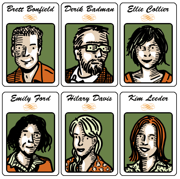 Six Librarians, drawing by Derik Badman