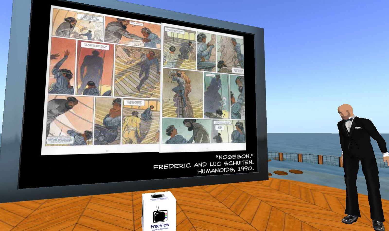Derik presenting in Second Life. Screenshot by Sean Kleefield.