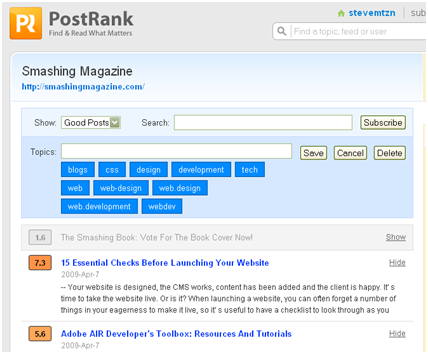 "Figure 3 Smashing Magazine articles filtered to show only ""Good"" postings."