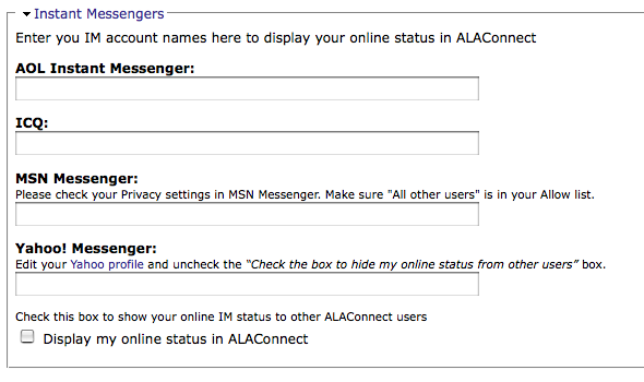 ALAConnect Privacy Options for IM  ALA