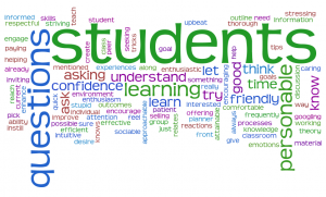 Wordle cloud of participants' teaching strengths