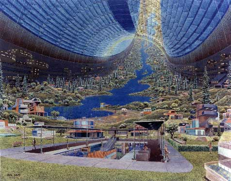 Space Colony Art from the 1970s: Toroidal Colonies, Interior View (via NASA)