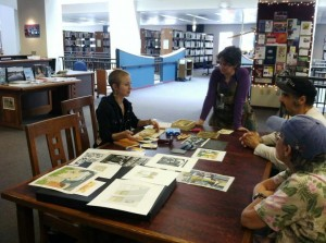 "A woodcut artist demonstrates her work at the Rochester Public Library as part of their ""Caution! Artist @ Work!"" series."