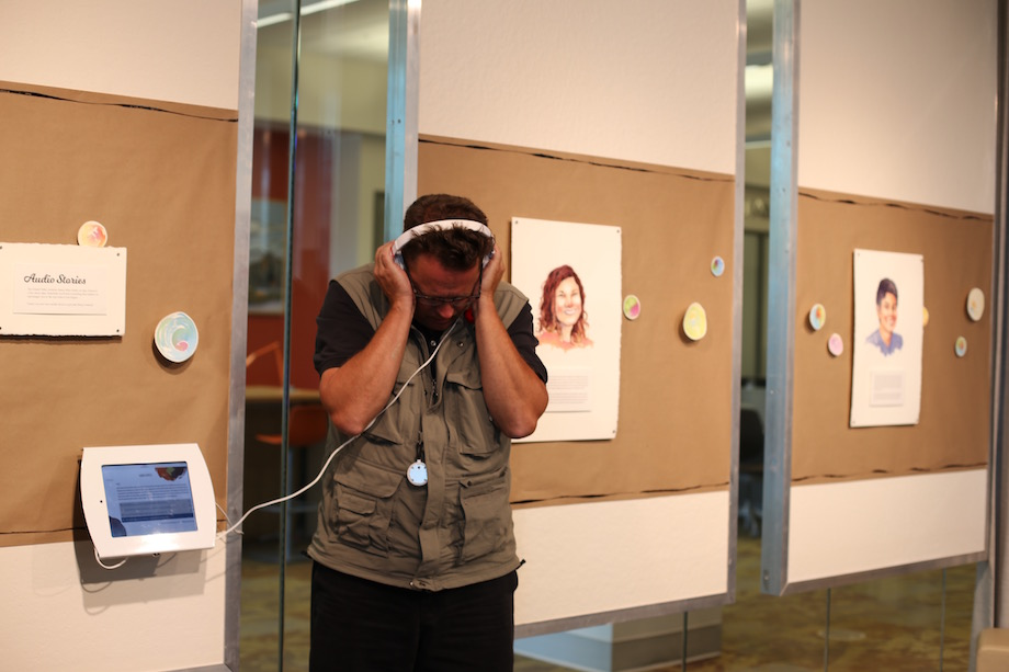 Exhibit visitors could listen to stories of first year experiences.