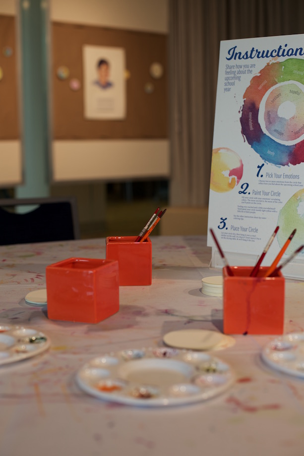 A table in the exhibit space was dedicated to painting emotion dots.