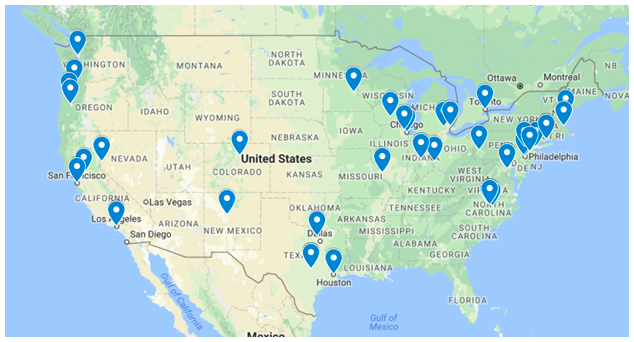 Map of the continental United States with pins indicating locations of DataRescue events.